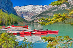 Lake Louise canoes on dock, Banff National Park, Alberta.