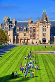 Biltmore Estate Mansion with school students on lawn, Asheville, North Carolina.