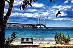 Mackinac Bridge across Straits of Mackinac to Upper Peninsula of Michigan, USA.