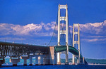 Mackinac Bridge from Mackinaw City looking toward Upper Peninsula of Michigan, USA.