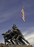 The Marine Corps War Memorial, AKA The Iwo Jima Memorial, outside Arlington National Cemetery in Virginia.