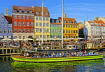 Tour boat in Copenhagen's Nyhavn harbor.