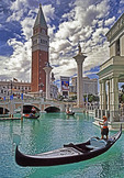 The Venetian casino hotel's gondolas in Las Vegas, Nevada.