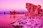 Mono Lake tufa tower formations at dusk, Lee Vining, California.