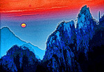 Huangshan (Yellow Mountain) sunset.