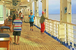 Runner, walker, and watcher, early morning on Promenade Deck of the Sea Princess cruise ship.