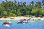 Sea Princess cruise ship tenders at Kiriwina Island, Papua New Guinea.