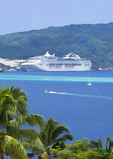 Sea Princess cruise ship docked at Port Vila harbor, Vanuatu.