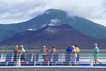 Sea Princess cruise ship passing active Tavurver cauldera volcano on New Britain Island, Papua New Guinea.