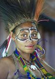 Young Melanesian woman in tribal festival dress at Alotau, Papua New Guinea.