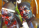 Melanesian warriors in festival regalia at Alotou, Papua New Guinea.