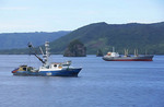 Fishing trawler and factory fishing ship in Rabaul Harbor on New Britain Island in Papua New Guinea.