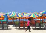 Khai Nok Island Beach umbrellas.