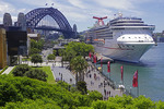 Carnival Legend cruise ship docked at The Rocks in Sydney harbour, NSW Australia.