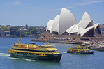 Sydney Harbour Ferry passing Sydney Opera House.