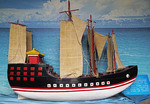 Model of Admiral Zheng He's ship at Zheng He gravesite at Niushou Mountain Cultural Park near Nanjing.