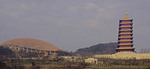 Panoramic view of Niushou Mountain Cultural Park with the dome of the newly constructed Foding Palace and new 2nd Hongjue Pagoda.