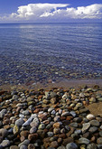 Rocky shoreline of Lake Issyk Kul, Kyrgyzstan.