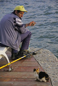 Fisherman with treat for cat on dock of Lake Ohrid, Macedonia.