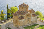 Sveti Jovan (St John the Theologian) Kaneo Macedonian Orthodox Church above Kaneo Beach of Lake Ohrid, Macedonia.