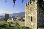 View of Macedonia's capital city, Skopje, with Skopje Fortress wall and watch towers.