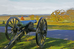 Gettysburg National Military Park with Union Army cannon at site of Pickett's Charge Confederate attack.  --Watercolor photo art painting