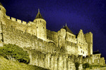 Carcassone Castle known at the Palatium in the fortified city in Aude, Languedoc-Roussillon, France.  --Photo art painting