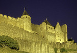 Carcassone Castle known at the Palatium in the fortified city in Aude, Languedoc-Roussillon, France.