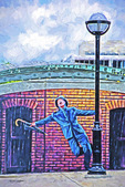 Mural of Gene Kelly of scene from Singing in the Rain at the Ann Arbor transit center, Michigan.   --Photo art painting