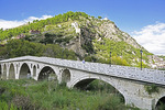 Gorica Bridge over Osum River at Berat is 18th century historical Ottoman structure for pedestrians.