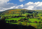 Dee River Valley countryside landscape in Wales.