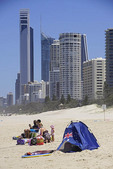 Campers on beach at Surfers Paradise, Queensland, Australia.