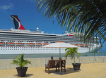 Carnival Conquest cruise ship at port of Amber Cove in Dominican Republic.