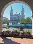 Parque Cespedes with Iglesias Catedral in Santiago de Cuba.