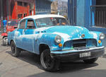 Unrestored American car in Santiago de Cuba.