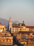 Skyline of Santiago de Cuba with Iglesias Catedral's two towers.