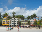Art Deco District hotels from beach front on South Miami Beach.
