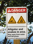 Miami, Florida, sign warning of danger of alligators and snakes next to lagoon.