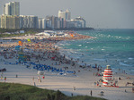 Crowded South Miami Beach on a Sunday in winter.