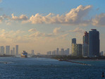 Cruise ship leaving port of Miami in late afternoon.
