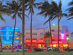 South Miami Beach art deco district neon at dusk.