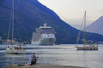 Bay of Kotor harbour with cruise ship in port