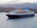 Saga Sapphire cruise ship in harbor of Santaigo de Cuba.