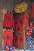 Souvenirs of Albania in Kruja shopping street.