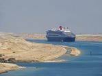Queen Mary 2 cruise ship of Cunard north bound on new section of Suez Canal.
