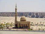 New mosque and residental housing project along Suez Canal at Ismailia.