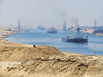Oil tankers south bound on new section of Suez Canal.