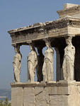 Statues of goddesses on the old Temple of Athena on the Acropolis in Athens.