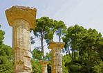 Doric columns from Temple of Hera ruins in Olympia.  --Photo art paintings