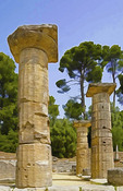 Doric columns of Hera Temple at Olympia, Greece.  --Photo art painting